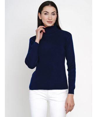 women winter navy high neck sweater