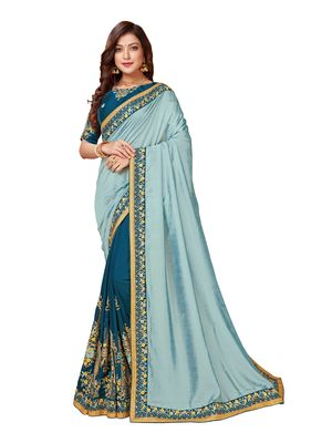 Light green embroidered art silk saree with blouse