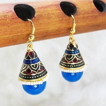 Meenakari Shanku Earring Maroon Blue Black