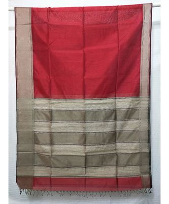 RED  woven cotton silk saree with blouse