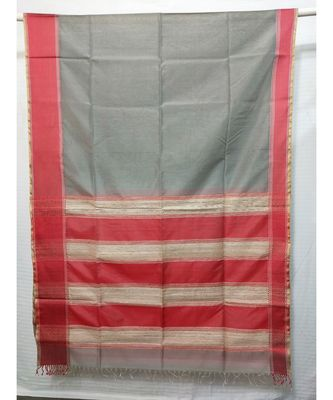 SILVER  woven cotton silk saree with blouse