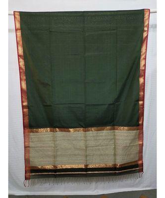 DARK GREEN  woven cotton silk saree with blouse