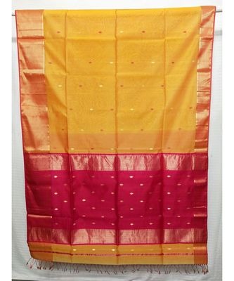 YELLOW  woven cotton silk saree with blouse
