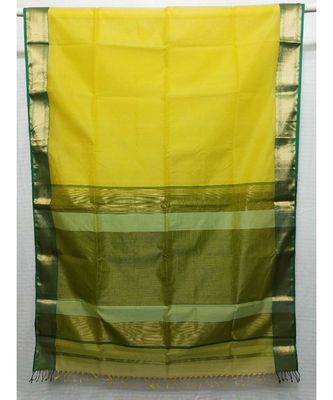 LEMON  woven cotton silk saree with blouse