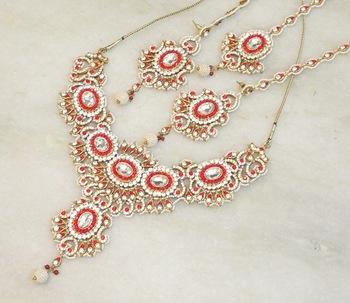 Elegant bridal party zircon colored stone necklace set NS01