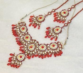 Elegant bridal party zircon colored stone necklace set ns03