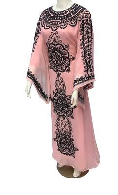 peach georgette moroccan islamic dubai kaftan farasha Aari and stone work dress