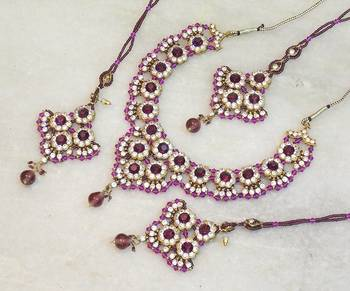 Elegant bridal party zircon colored stone necklace set ns06