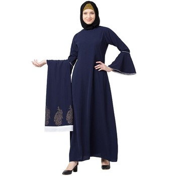 Printed Shrug with Inner abaya- Navy Blue