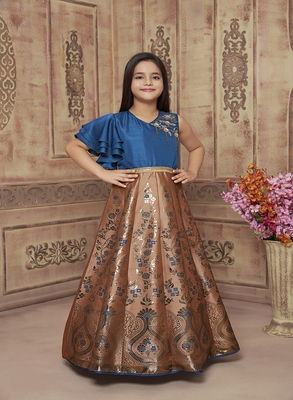 Polyster caramel embroidred kids girls gown