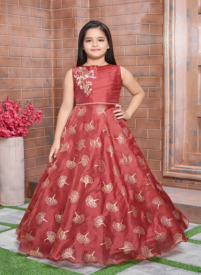Polyster maroon embroidred kids girls gown