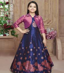 Polyster red embroidred kids girls gown