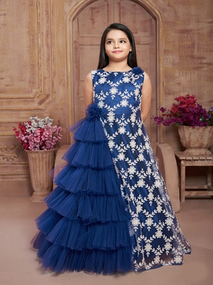 Polyster blue embroidred kids girls gown