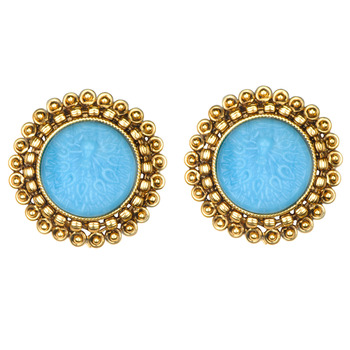 Traditional Indian Bollywood Jewelry Set Gold Finish Stud Earrings