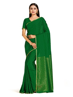 green hand woven crepe saree with blouse