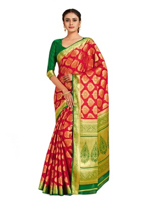 red hand woven crepe saree with blouse
