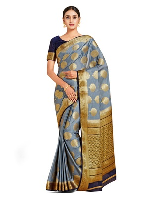 grey hand woven crepe saree with blouse