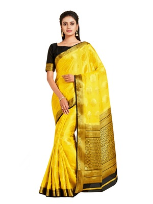 yellow hand woven crepe saree with blouse