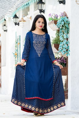 ADDICTION NAVY RAYON PRINTED KURTA PAIRED WITH BEAUTIFULLY PRINTED FLARED SKIRT