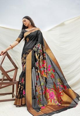 Aurima Crystle Silk Floral Jacquard Designer Saree For Women