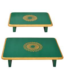 Home Wooden Patala Pooja Chowki End Table Patta Christmas Decorations Gifts Set of 2 Pcs