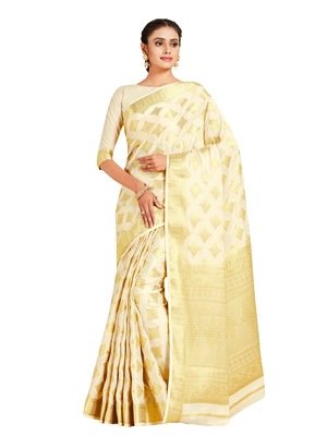beige hand woven crepe saree with blouse