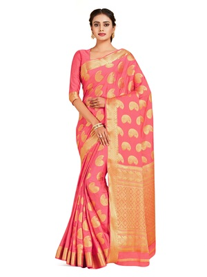 peach hand woven crepe saree with blouse