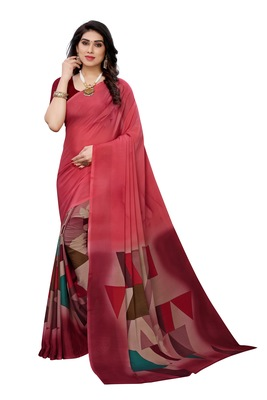 Red colour printed crepe saree with running blouse