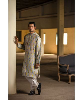 Cream Printed Silk Kurta with Off White Cotton Silk Churidar