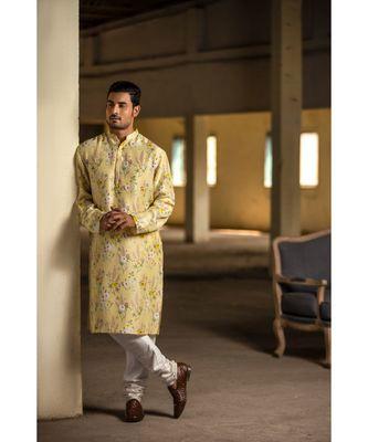Yellow Printed Silk Kurta with Off White Cotton Silk Churidar