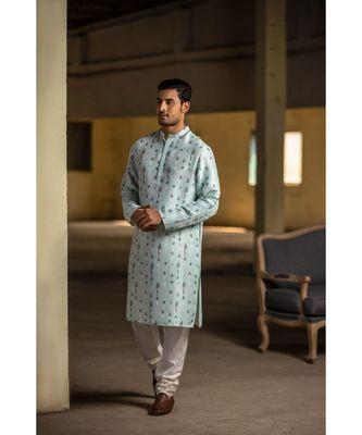 Ice Blue Printed Silk Kurta with Off White Cotton Silk Churidar
