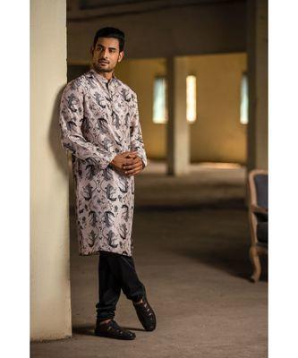 Blush Printed Silk Kurta with Off White Cotton Silk Churidar