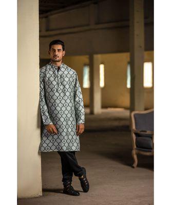 Powder Blue Printed Silk Kurta with Off White Cotton Silk Churidar