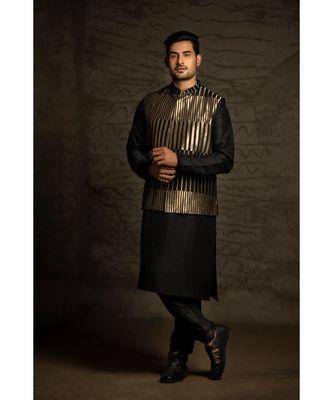 Black Brocade Bandi with Black Silk Kurta and Cotton Silk Churidar