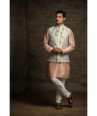 Grey Printed Dupion Silk Bandi with Rose Pink Silk Kurta and Off White Cotton Silk Churidar