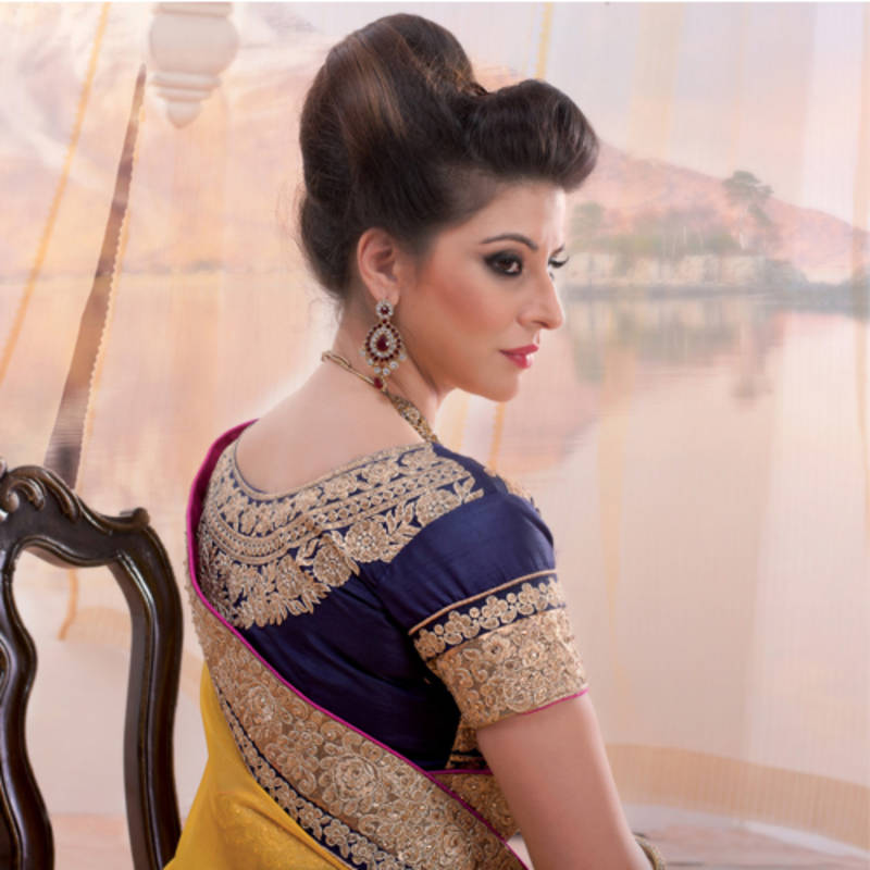 7b34737045 ... Yellow and sky blue embroidered georgette lehenga saree with blouse