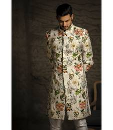 Ivory Printed Dupion Silk Sherwani with Off White Cotton Silk Churidar