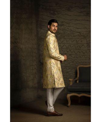 Yellow Printed Dupion Silk Sherwani with Off White Cotton Silk Churidar