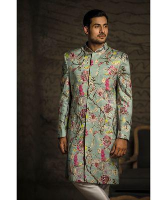 Aqua Printed Dupion Silk Sherwani with Off White Cotton Silk Churidar