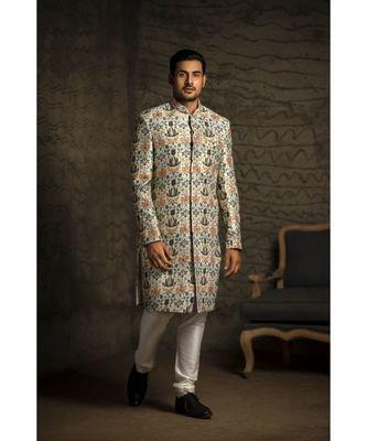 Cream Printed Dupion Silk Sherwani with Off White Cotton Silk Churidar