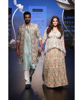 Tahir Ice Blue Silk Kurta with Off White Silk Pant and Stone Organza Jacket