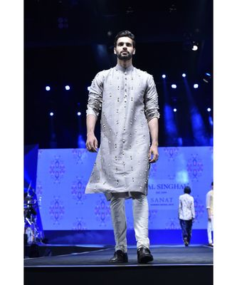 Arsalan Grey Dupion Silk Kurta with Off-white Cotton Silk churidar
