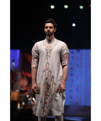 Amir Grey Printed Dupion Silk Kurta with Off-White Cotton Silk Churidar
