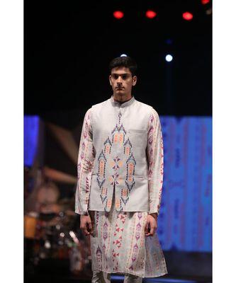 Zaheer Cream Printed Silkmul Kurta with Grey Printed Dupion Silk Bandi and off-White Cotton Silk Churidar