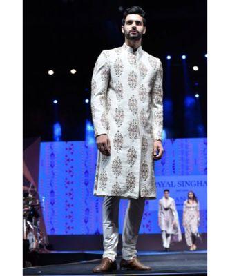Reyhan Cream Printed Dupion Silk Sherwani With Off White Cotton Silk Churidar