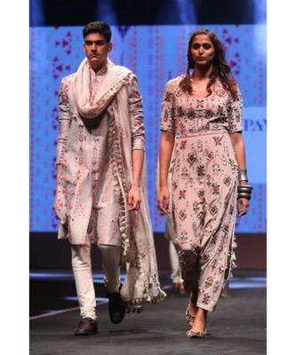 Shahab Grey Printed Dupion Silk sherwani with Off-white Cotton Silk Churidar and Cream Ikat Butti Silkmul Dupatta