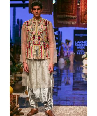 Umair Stone Organza Bandi and Kurta with Periwinkle Blue Low Crotch Pant