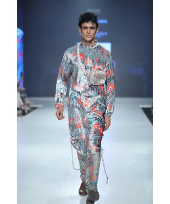 Aziz Blue Printed Velvet Kurta and Silkmul Churidar