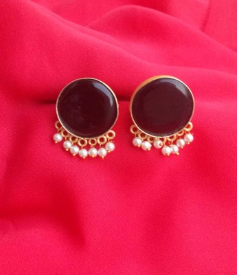 RozMili Handcrafted Nickle free Gold plated Matte finish Brass Jaipuri Monalisa stone Stud  Earring