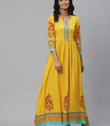 Pinksky Yellow woven viscose ethnic-kurtis